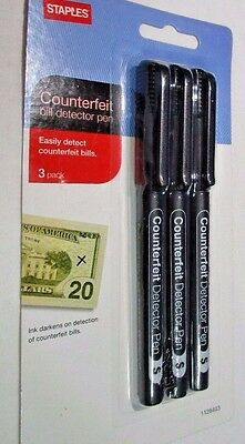 Brand New Staples Counterfeit Detector Pens (2-packs of 3 pens) Free Shipping