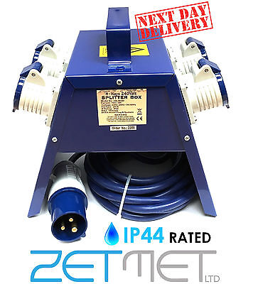 4 Way 240V Mains Blue Industrial Splitter Junction Box Extension Lead 16A IP44