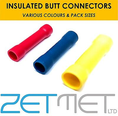 Insulated Electrical Straight Butt Connectors Terminal Wire Cable Crimps Splices