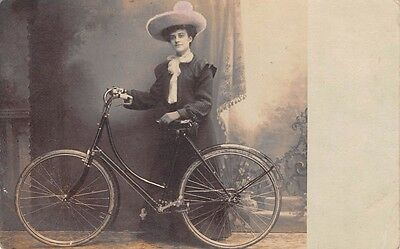 Woman with large Hat poses with her Bicycle- Real Photo