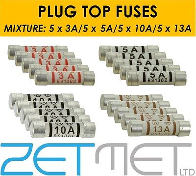 20 x Mixed Ceramic Household Domestic Mains Plug Top Fuses Electrical Cartridge
