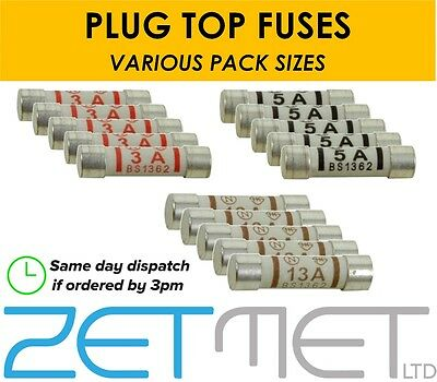 3A 5A 13A Ceramic Household Domestic Mains Plug Top Fuses Electrical Cartridge