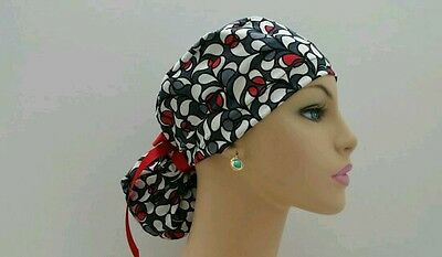 Ponytail Scrub Hat-Handmade, Medical, Multi-Color, One Size/Black/Red Petals