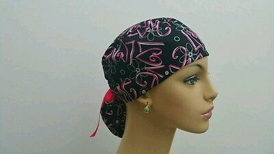 Ponytail Scrub Hat - Forever Love -Handmade, Medical, Multi-Color, One Size,