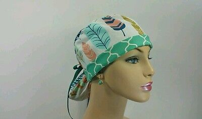 Turn Up Ponytail Medical Scrub Cap-One size -Handmade-Feathers/Chevron