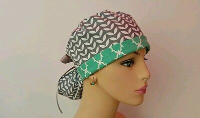Turn Up Ponytail Medical Scrub Cap-One size -Handmade- Chevrons/Gray/Green