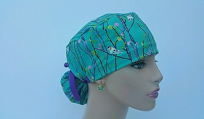 Ponytail Scrub Hat-Handmade, Medical, Multi-Color, One Size-Birdies