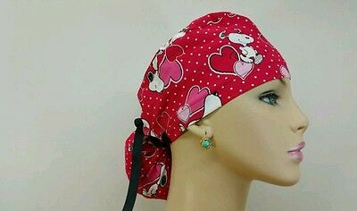 Ponytail Scrub Hat/Snoopy in Love/ Medical, Multi-Color, One Size,