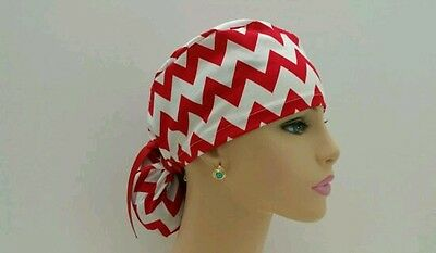 Ponytail Scrub Hat-Handmade, Medical, Multi-Color, One Size/Red/White Chevrons