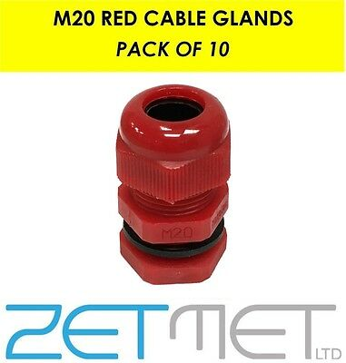 10 x Red 20mm Waterproof IP68 TRS Cable Compression Stuffing Gland Locknut M20