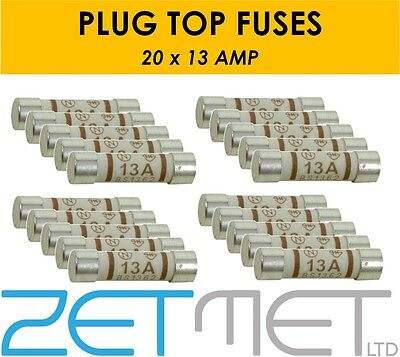 20 x 13 AMP Ceramic Household Domestic Mains Plug Top Fuses Electrical Cartridge