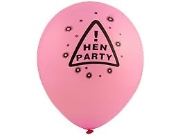Pack of 12 Hen Night Party Balloons (Hot Pink, Black Text) For Your Hen Do!