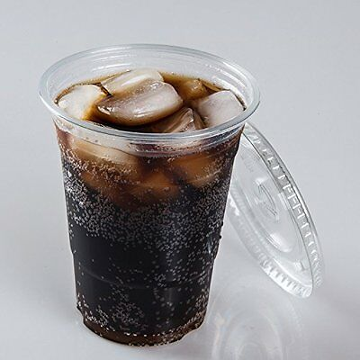 TashiBox 16 oz Plastic Clear PET Cups with Flat Lids, 50 / 100 Sets