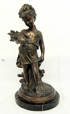 19th Century Bronze Statue of a Young Girl Signed by Aguste Moreau.