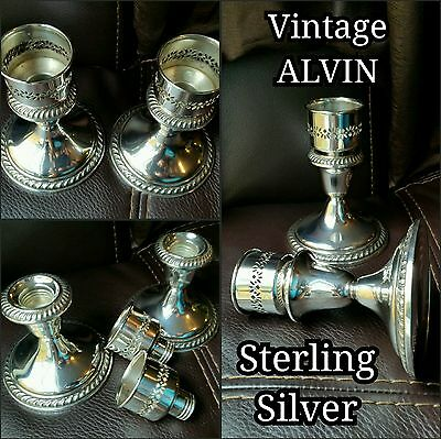 Vintage Pair (2) ALVIN Sterling Silver Candlestick Holders S160 - Weighted