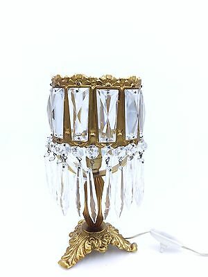1960s Original French Vintage Antique Bronze Table Lamp with Crystal Glasses
