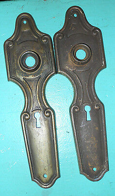 2  Old Victorian Press Steel Door Knob Back Plates