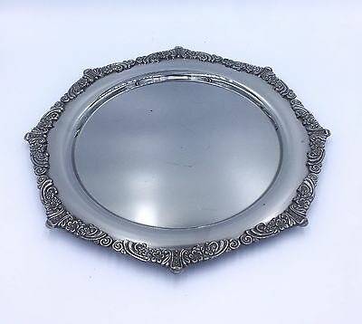 1960s VINTAGE ANTIQUE FRENCH LARGE TRAY SILVER PLATED DECORATIVE
