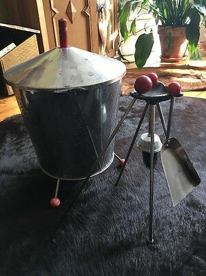 Original 1950s/60s Atomic Design Coal Bucket And Fireplace Companion Set, Silver