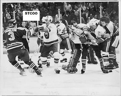 Billy Smith Brawls w/Semenko - Islanders/Oilers 8X10 Fight Photo