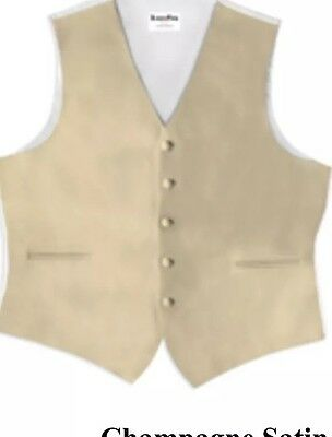 Champagne Men's Tuxedo Vest With Matching  Bow Tie, X-Large .
