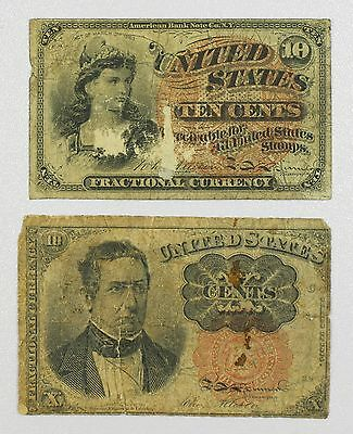 2 10 Cent Fractional Currency Notes 4th & 5th Issue Low Grade {DO788A}