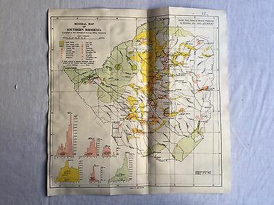 Antique Mineral Map Of Shouthern Rhodesia 1933  Made In Uk