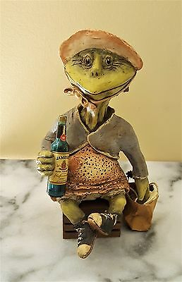Vintage Handmande Jameson Whiskey Ceramic Frog on Crate Figurine * Original
