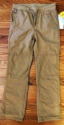NWT Cat & Jack Boys' Lined Pull-On Drawstring Pants, Brown, Small (6-7)