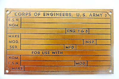 "Vintage U.S. Army Corps of Engineers 3"" x 5"" Brass Tag Plate"