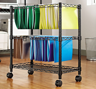 Rolling File Storage Cart Portable Filing Cabinet on Wheels Mobile Organizer Box