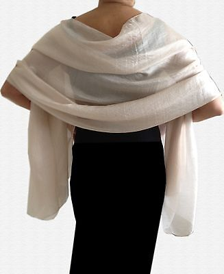 Silky Lightweight IVORY CREAM Shimmer WEDDING Pashmina Shawl Wrap Scarf