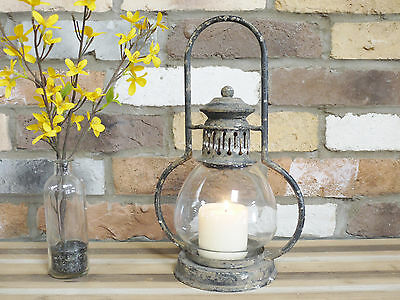 Antique Vintage Garden Candle Hurricane Railway Lantern Lamp Holder Large 35cm