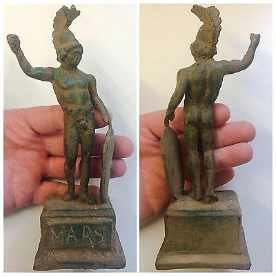 "ROMAN Ancient Bronze Statue / Statuette On Stand ""Mars"" c200-400 AD (Large Size)"