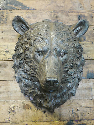 Aged Resin Wild Bears Head Animal Bust Wall Art Mounted Large Sculpture 44cm