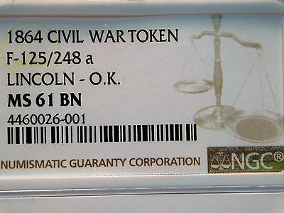 Civil war token patriotic 125/248 a