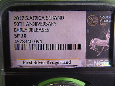 2017 50th anniversary FIRST EVER 1 oz silver krugerrand.  SP70 BY NGC