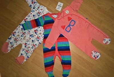 Next Baby Girls Cat/Floral Sleepsuits 3 Pack (size 0-3months) NEW