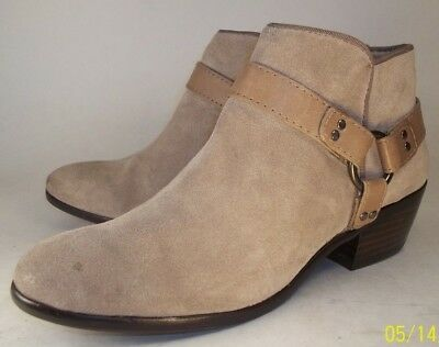 07893e275 Sam Edelman PHOENIX Womens US 6M Beige Suede Harness Ring Zip-Up Low Ankle  Boots