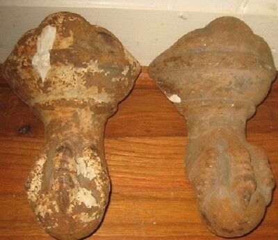 Two Matching Vintage/Antique Cast Iron Clawed Bathtub Feet