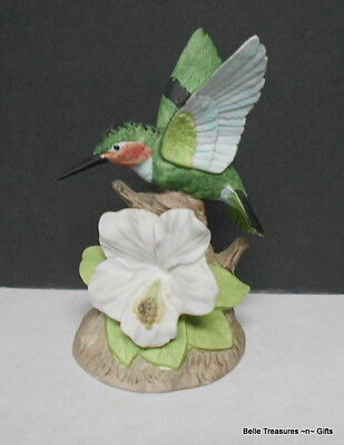 Beautiful Porcelain Bisque Hummingbird Bird Figurine