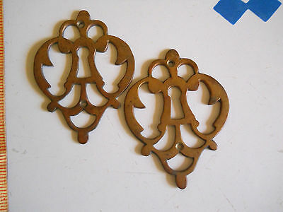 2 old LARGE CAST BRONZE KEY HOLE PLATES 1870-1890s
