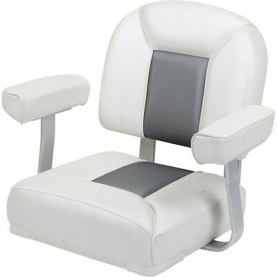 Captain's Boat Seat - Grey/White, Padded