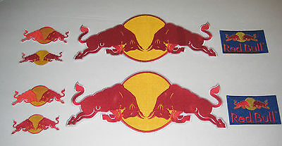 RED BULL LOGO RACING TEAM IRON ON EMBROIDERED PATCH SET (4 patches/set)
