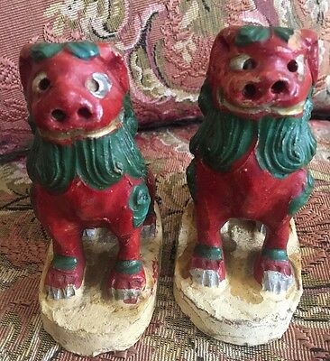 Vtg Pair Collection Chinese Green Red FOO DOG Carved Clay statue temple Lions