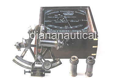"""4"""" Nautical Antique Sextant Maritime Solid Brass Sextant With Wooden Box Gift D."""