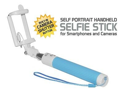 """Samsung """"J3 Emerge"""" Compact Blue Aux Cable Selfie Stick – No Charging Needed"""