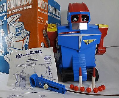 (Working) ROBOT COMMANDO – Ideal Toys – Battery Vintage Space Toy –COMPLETE (-1)