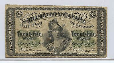 Canada 1870 25C Fractional Currency (#70) Decent Condition. Some Pinholes. Caref