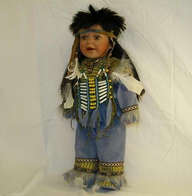 """Duck House Heirloom 21"""" Porcelain Soft Body Indian/Native American Doll #341"""